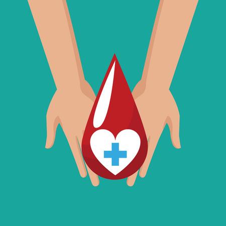 donate blood hand hold drop cross vector illustration eps 10 Illustration