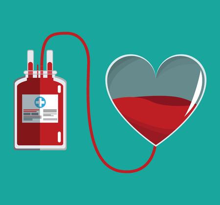 faire un don de coeur de verre sanguin et illustration vectorielle de sac iv