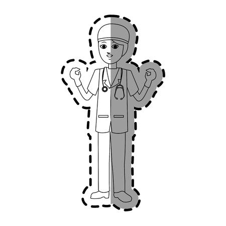 chirurgo: femmina medico illustrazione immagine icona di disegno vettoriale