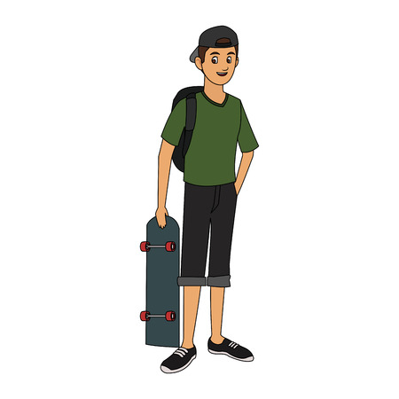 handsome young man with skateboard  icon image vector illustration design