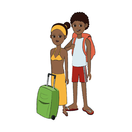 traveling couple with suitcase icon image vector illustration design