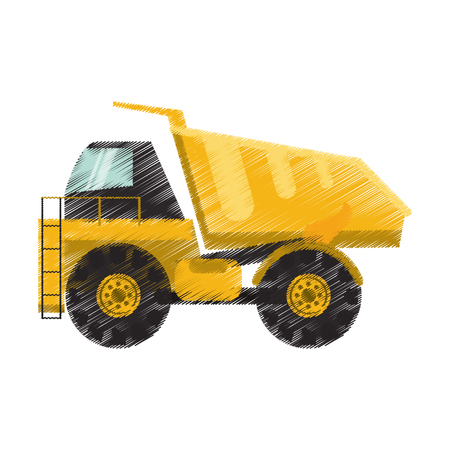 earth mover: dump truck heavy construction machinery icon image vector illustration design Illustration