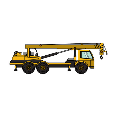earth mover: crane truck heavy construction machinery icon image vector illustration design