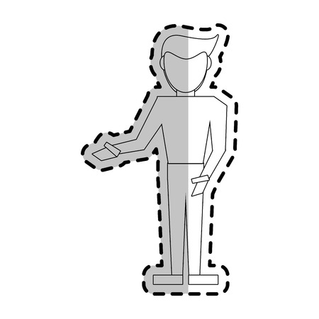 abstract faceless man pointing to the side icon image vector illustration design