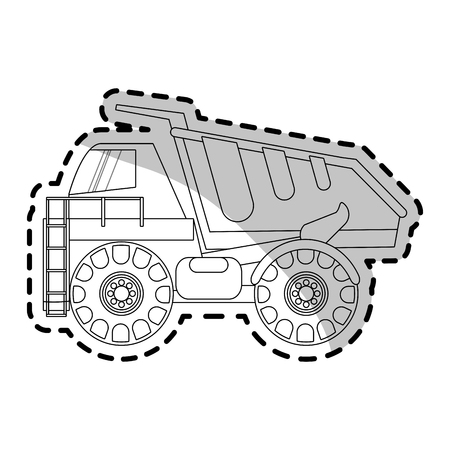 excavation: dump truck heavy construction machinery icon image vector illustration design Illustration