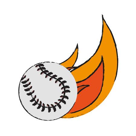 ball in flames baseball icon image vector illustration design