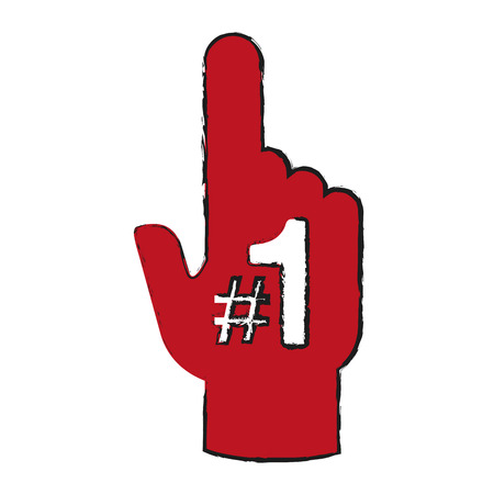 favorite number: fan foam finger icon image vector illustration design