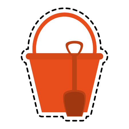 bucket with handle and shovel icon image vector illustration design