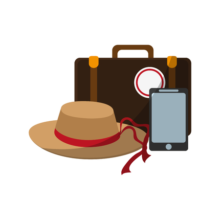 hat, smartphone and briefcase over white background. colorful design. vector illustration