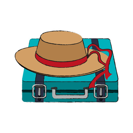 travel suitcase and hat accessory over white background. vector illustration Illustration
