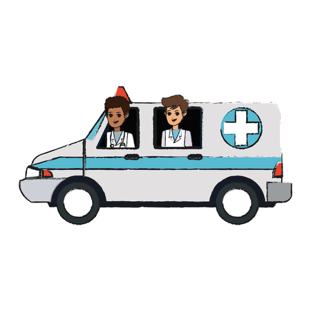 medical ambulance and doctors over white background. colorful design. vector illustration