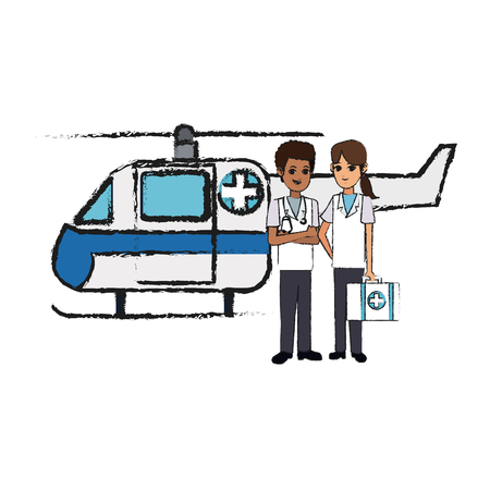 helicopter ambulance and doctors over white background. colorful design. vector illustration