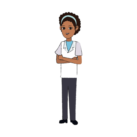 medical doctor woman cartoon icon over white background. vector illustration