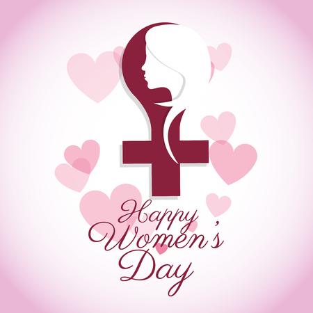 happy womens day female symbol card vector illustration