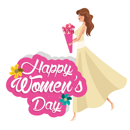 happy womens day girl flowers vector illustration Illustration