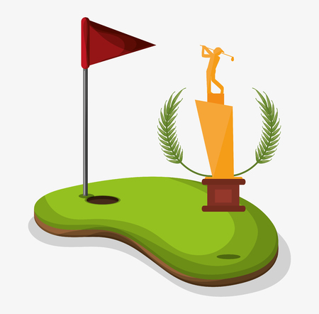 trophy golf player field flag hole one Illustration