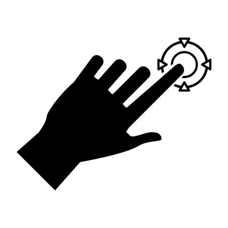 engrossed: hand touch game vr pictogram Illustration