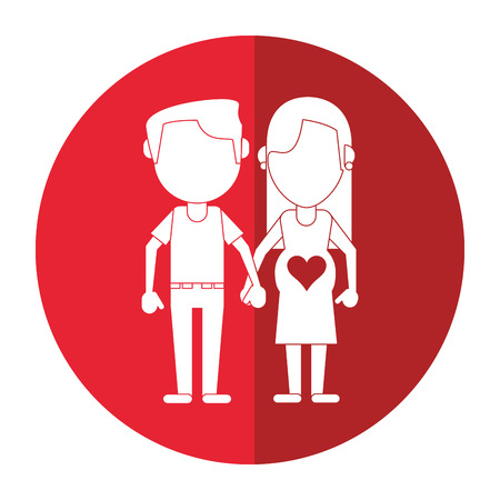 pregnant couple hing hands shadow vector illustration eps 10