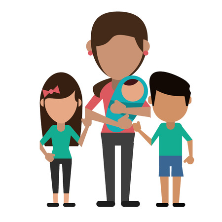 mom with childrens and baby vector illustration eps 10 Illustration
