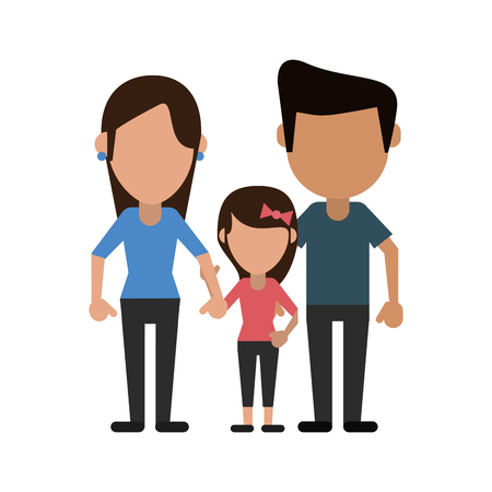 parents with daugther family vector illustration eps 10