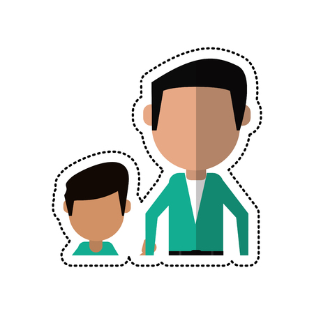 cartoon father and son holding hands vector illustration eps 10 Illustration