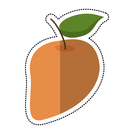 mango slice: cartoon mango juicy fruit icon vector illustration eps 10