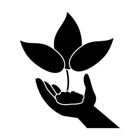 concern: hand holding plant leaves pictogram vector illustration eps 10