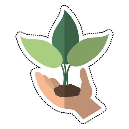 cartoon hand holding plant leaves vector illustration eps 10