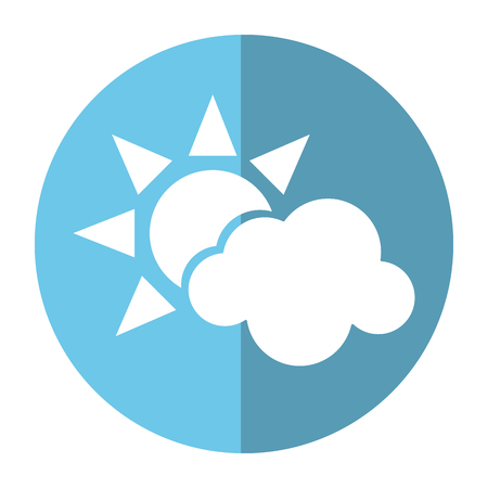 sun cloud weather symbol shadow vector illustration