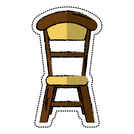 cartoon wooden chair vintage design vector illustration