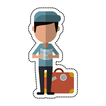 cartoon man with travel bag and map vector illustration eps 10