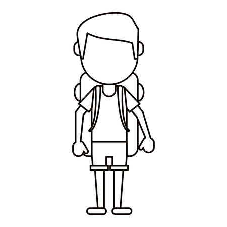 man wearing short with backpack travel thin line vector ilustration eps 10 Illustration