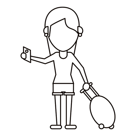 departure board: girl tourist passport and baggage thin line vector illustration eps 10