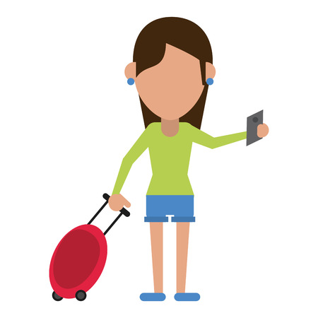 commuter: girl tourist passport and baggage vector illustration eps 10