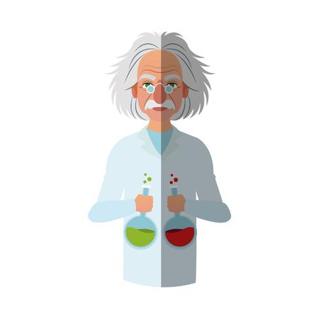 scientist man cartoon icon over white background. colorful design. vector illustration Illustration