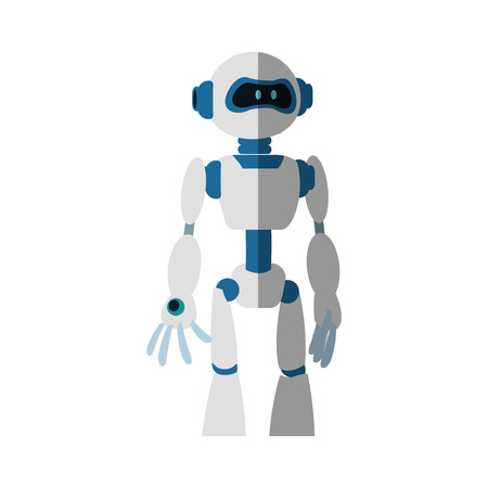 Robot cartoon icon over white background. colorful design. vector illustration Illustration