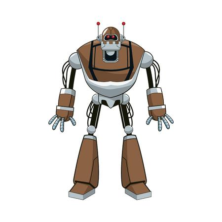 Icono de dibujos animados de robot sobre fondo blanco. Diseño colorido. Ilustración vectorial Vectores