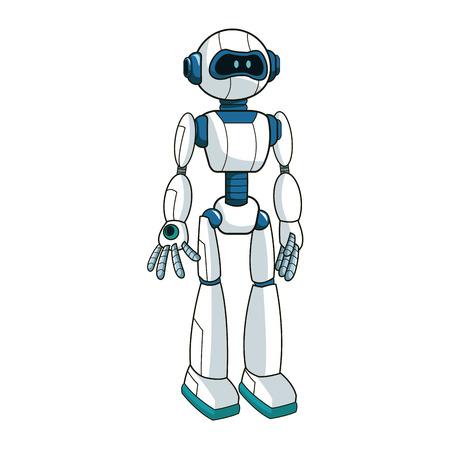 cybernetics: Robot cartoon icon over white background. colorful design. vector illustration Illustration