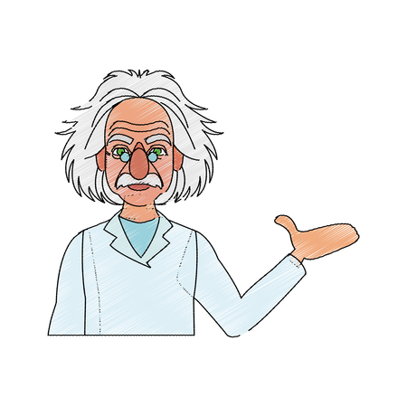 scientist man cartoon icon over white background. colorful design. vector illustration Illustration