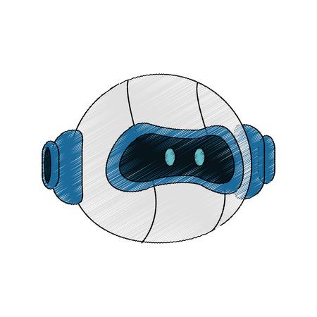 robot head cartoon icon over white background. vector illustration