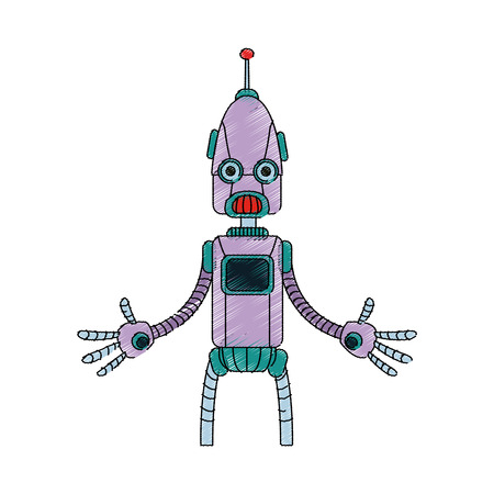 cybernetics: robot cartoon icon over white background. vector illustration Illustration