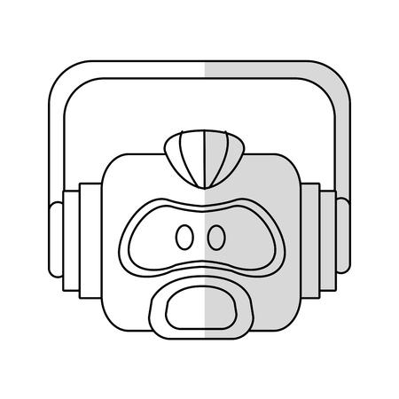cybernetics: robot head cartoon icon over white background. vector illustration