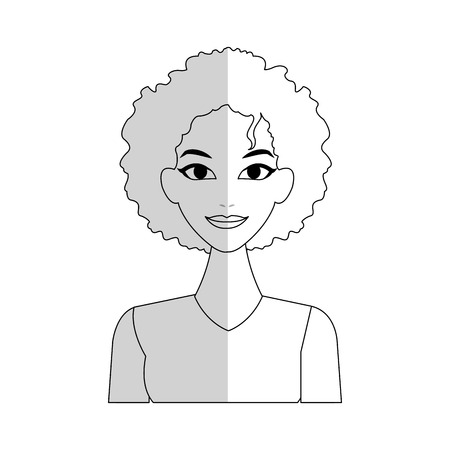 pretty young woman with curly hair  icon image vector illustration design