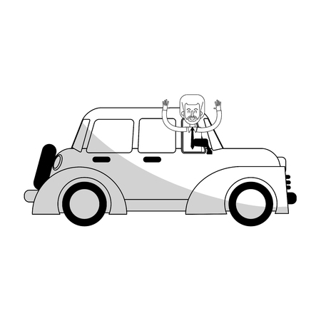 car sideview black and grey icon image vector illustration design