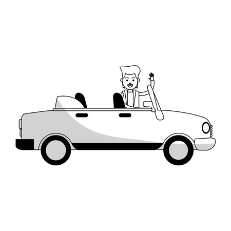 convertible car sideview black and grey icon image vector illustration design