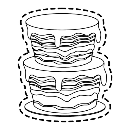 rolling pin: cake with frosting pastry icon image vector illustration design