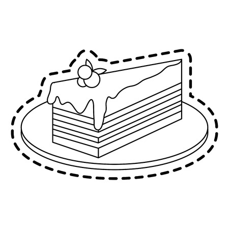 cake with frosting pastry icon image vector illustration design
