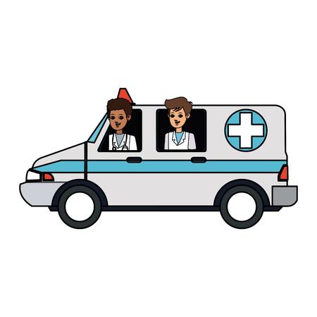 reanimation: paramedics and ambulance  health icon image vector illustration design