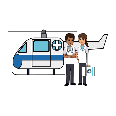 helicopter ambulance  and paramedics health icon image vector illustration design