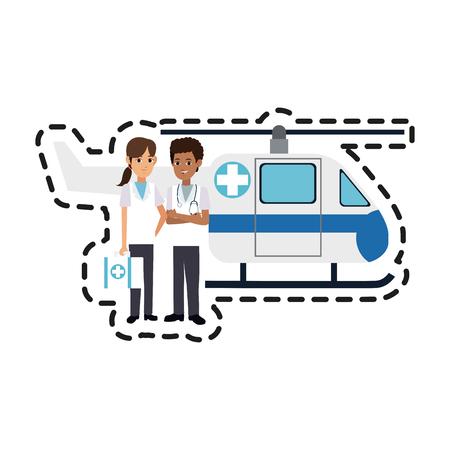 reanimation: helicopter ambulance  and paramedics health icon image vector illustration design